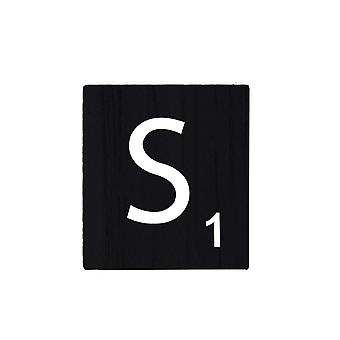 Black Wooden Scrabble Letters with Printed Numbers and Alphabets -S