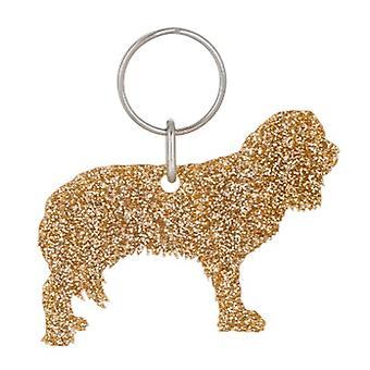 Gold Cavalier Style 1 Glitter Acrylic Keyring