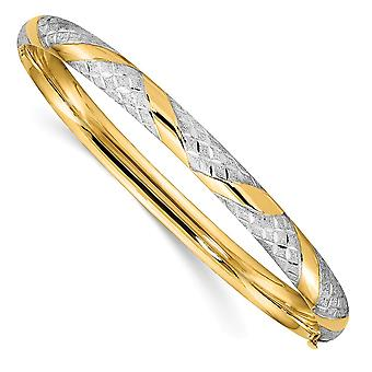 14k com brilho branco de rhodium cortado Criss cruza cuff stackable pulseira joias joias para mulheres