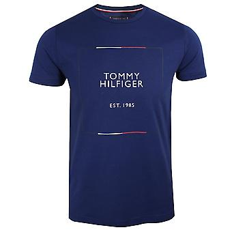 Tommy hilfiger men's blue ink box outline t-shirt