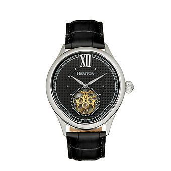 Relógio de banda de couro semi-esqueleto automático hayward - Prata/Preto