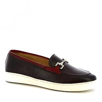 Leonardo Shoes Women's handmade bit loafers shoes in dark brown calf leather