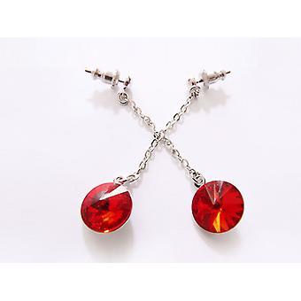 Red Crystal drop earrings EMB 14.5