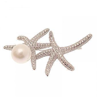 Nour London Rhodium Women's Starfish Brooch