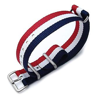 Strapcode n.a.t.o watch strap miltat 18mm g10 military watch strap ballistic nylon armband, brushed - french flag edition