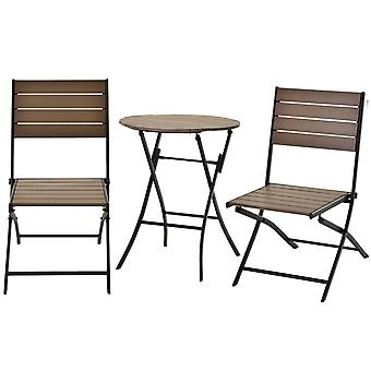 Outsunny 3 Pcs Folding Bistro Dining Set Metal Frame Plastic Panels Slatted Compact Outdoor Seating Garden Flat Apartment Black Brown