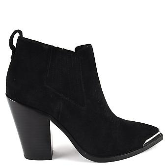 Ash BONNIE Heeled Boots Brushed Black Suede
