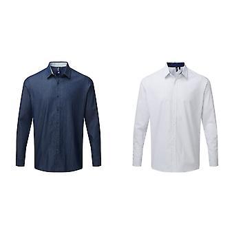 Premier Mens långärmad Denim-Pindot Skjorta