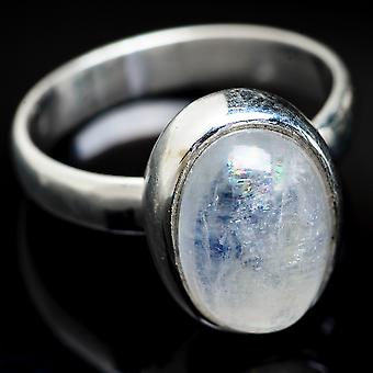 Rainbow Moonstone Ring Size 5.75 (925 Sterling Silver)  - Handmade Boho Vintage Jewelry RING3769