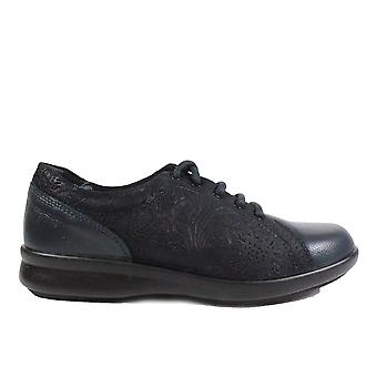 Easy B Phoebe 4E Navy Embossed Leather Womens Wide Fit Lace Up Shoes