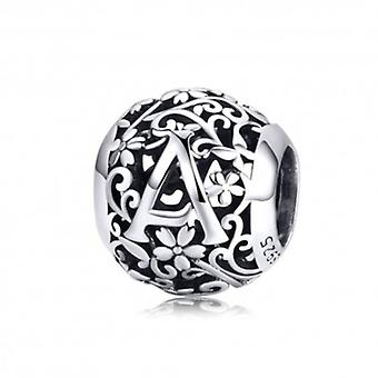 Sterling Silver Alphabet Charm With Flowers Letter A - 6149