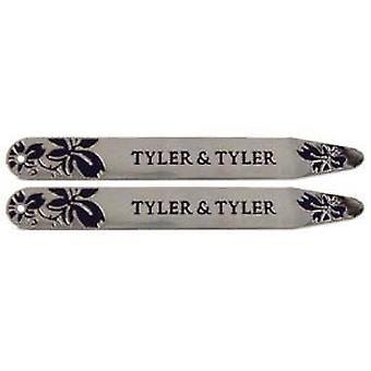 Tyler e Tyler Enamel videira colarinho reforçadores - Marinha/prata