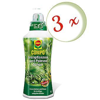 Sparset: 3 x COMPO vert plante et engrais de palme, 1 litre