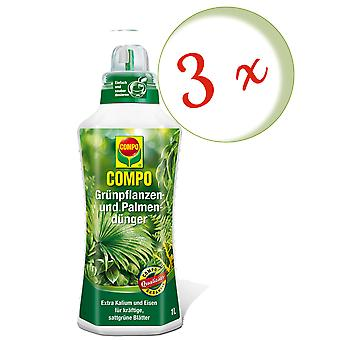 Sparset: 3 X مصنع خضراء والأسمدة النخيل، 1 لتر