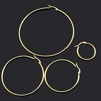 Gold plated tubular 316 stainless steel round classic hoop earrings available in four sizes for women