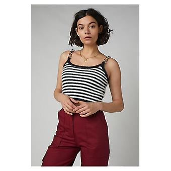 The ragged priest monochrome stripe record cropped top