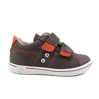 Ricosta Nippy 2623000-282 Brown/Orange Leather Boys Rip Tape Casual Shoes