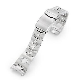 Strapcode watch bracelet 22mm rollball 316l stainless steel watch bracelet for seiko skx007, brushed v-clasp