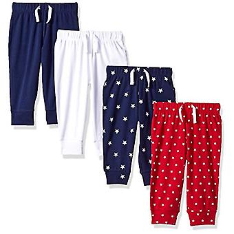 Essentials Baby Boys 4-Pack Pull-on Hose, blau/rot/weiß, 6-9M