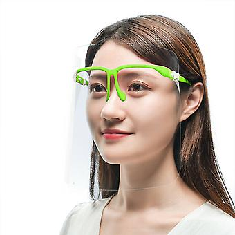 (Pack of 20) (Green) Full Face Shield Visor Glasses Protection Mask PPE Transparent Clear Plastic