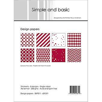 Enkelt och grundläggande mörkrödt 1 A6-papperspaket