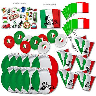 Italy Party Set XL 107-piece for 10 guests Party ItalyParty Italia Italy Birthday Decoration Party Package