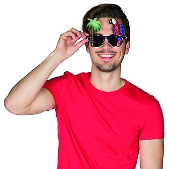 Óculos Tropical Glitter Papagaio Palm Black Sunglasses Holiday Hawaii