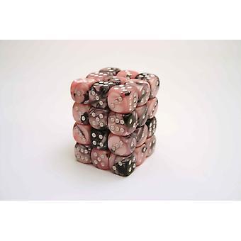 Chessex Gemini 12mm D6 Block - Black-Pink/white