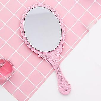 Handhold Makeup Mirror - Floral Oval Round Cosmetic Hand Held Mirror With Handle For Ladies Beauty Tool