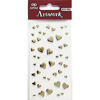 Gold Hearts Craft Embellishment By Artoz