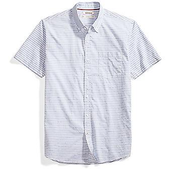 Merkki - Goodthreads Men's Standard-Fit Lyhythihainen Vaakaraitapaita, sininen/valkoinen, Pieni