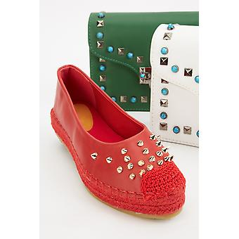 Metallic Studded Platform Loafers
