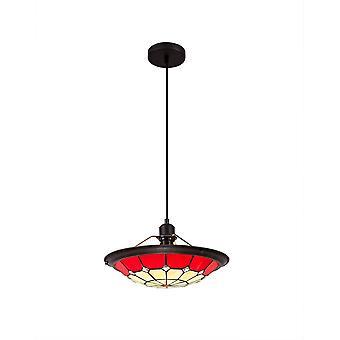 Luminosa Belysning - 1 let loft vedhæng E27 med 35cm Tiffany Shade, rød, klar krystal center, alderen antik messing trim, sort