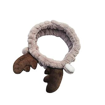 Cute Fashion Antler Pattern Flannel Face Wash Hair Band Brown
