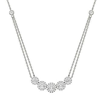 14K White Gold Moissanite por Charles & Colvard Halo Necklace, 1.04cttw DEW