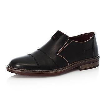 ريكر 17661-00 Cavalery Mens الذكية عارضة زلة على الحذاء في الجلد الأسود