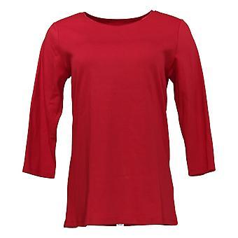 Denim & Co. Women's Top 3/4 Sleeve W/ Satin Trim Décolleté Rouge A372568