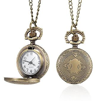 Pocket Watch Vintage Shield Carved Case With Chain