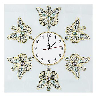 Diamond Painting Cross Clock Flower Butterfly Pattern Embroidery