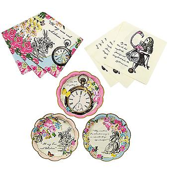 Alice in Wonderland Plates, Cocktail Napkins and Luncheon Napkins Party Set