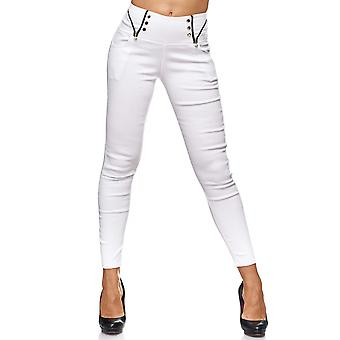 Ladies Treggings knappar dragkedja Detaljer Jeans byxor Jeggings Hipsters Stretch