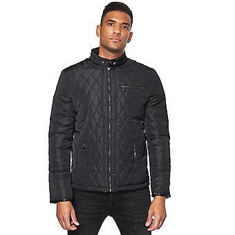 Men Jacket Light Quilted Windbreaker Transition Padded Leather Hem Button Detail