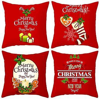 Fire røde jul fersken hud pudebetræk