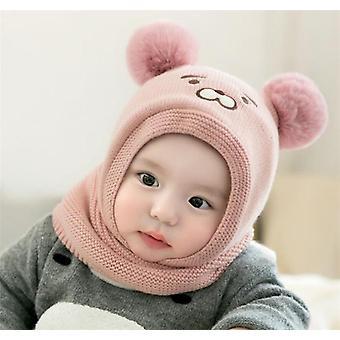 Baby Knit Short Peluche Inlayer Hooded Scarf Kid Hat, Child Winter Warm