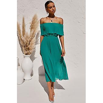 Off-the-ramię plisowana tunika szyfonowa długa sukienka
