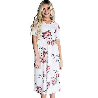Ležérní krátký rukáv kapesní design květinové šaty