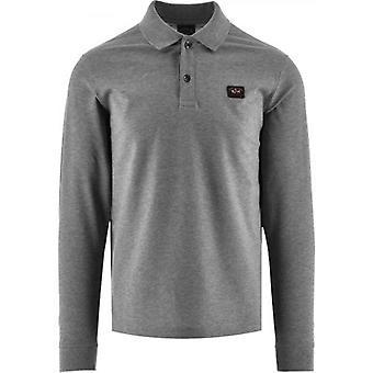 Paul & Shark Grey Heritage Logo Cotton Pique  Polo