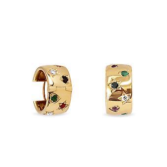 Boucles d'oreilles My UAE, 18K Gold, Diamonds & Precious Stone - Ruby | Émeraude