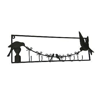 Birds and Bows Rustic Brown Metal Wall Sculpture with Hooks