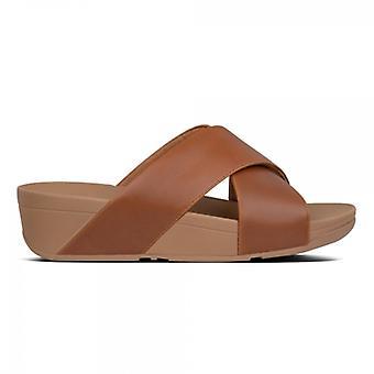 FitFlop Lulu Cross Ladies Leather Sandals Light Tan